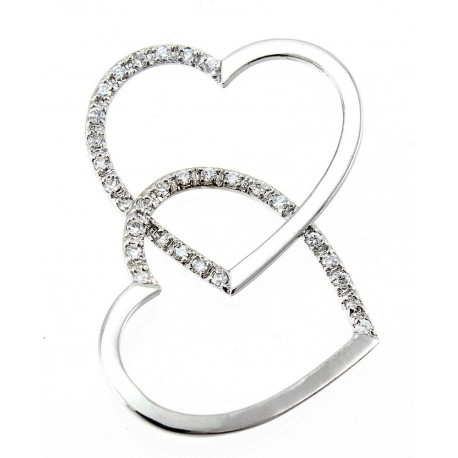 Sterling Silver Double Heart Pendant with CZ