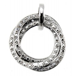 Rhodium Plated Sterling Silver Three Circle Pendant with CZ