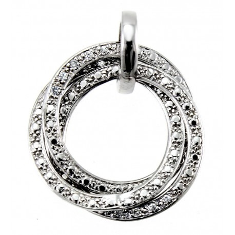 Sterling Silver Circle Pendant with CZ
