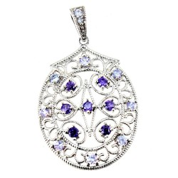 Rhodium Plated Sterling Silver Oval Pendant with Purple CZ