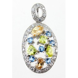 Sterling Silver Oval Pendant with Colored CZ