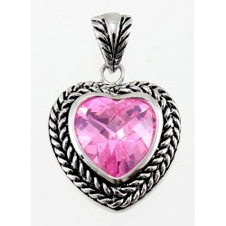 Sterling Silver Heart Pendant with Pink CZ