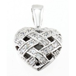 Sterling Silver Heart Pendant with Clear CZ