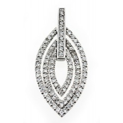 Sterling Silver Leaf Pendant with Clear CZ
