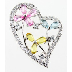 Sterling Silver Heart Pendant with Colored CZ