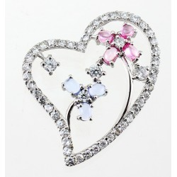 Sterling Silver Heart Pendant with Flowers and Colored CZ