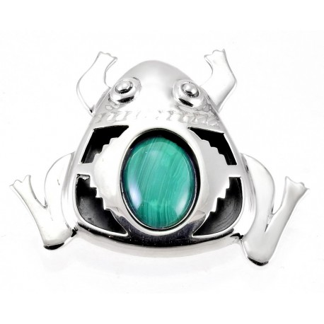 Southwestern Sterling Frog Pin Pendant