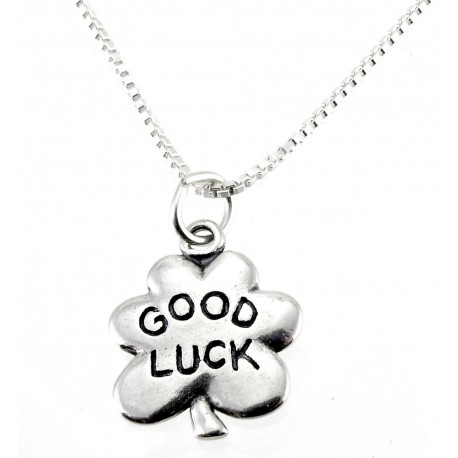 Sterling Silver Good Luck Clover Pendant With Chain