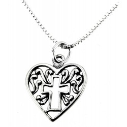 Sterling Silver Heart and Cross Pendant with Chain