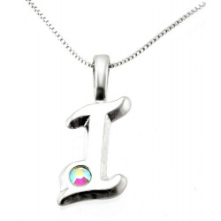 Sterling Silver Initials Pendant with Chain - I