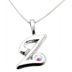 Sterling Silver Initials Pendant with Chain - Z
