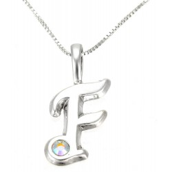 Sterling Silver Initials Pendant with Chain - F