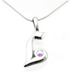 Sterling Silver Initials Pendant with Chain - L