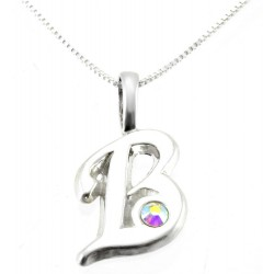 Sterling Silver Initials Pendant with Chain - B