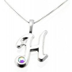Sterling Silver Initial Pendant W Chain H
