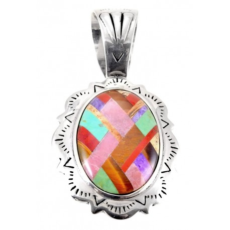 Sterling Silver Pendant with Gemstone Inlay