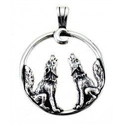 Sterling Silver Wolves with Moon Pendant
