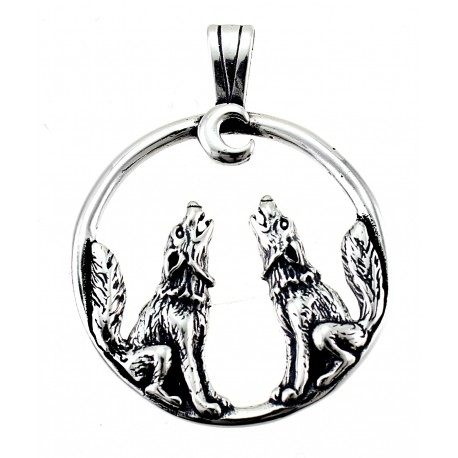 Sterling Silver Wolfs & Moon Pendant W Chain