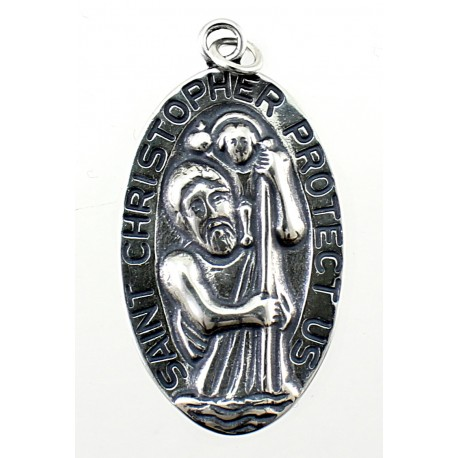 Sterling Silver Saint Christopher Oval Pendant