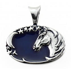 Sterling Silver Oval Horse Pendant with Enamel