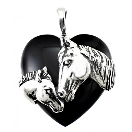 Sterling Silver Horse and Heart Onyx pendant