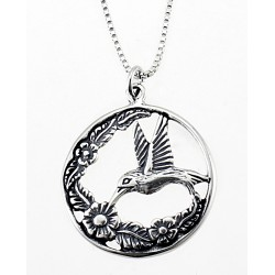 Sterling Silver Hummingbird with Flowers Pendant with Chain