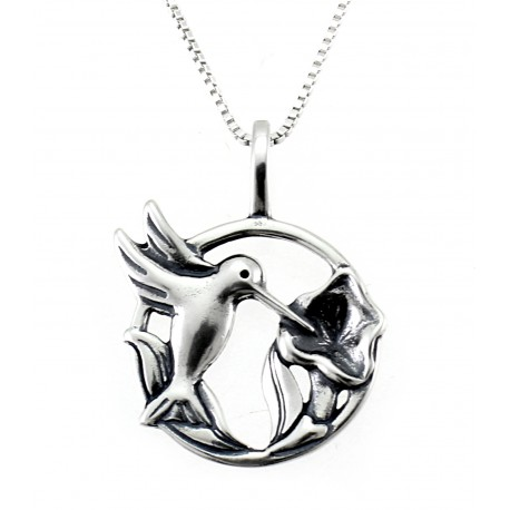 Sterling Silver Hummingbird with Flower Circle Pendant with Chain