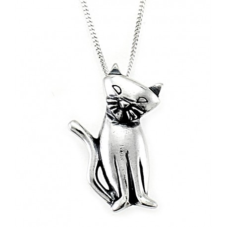 Sterling Silver Cat Pendant with Necklace
