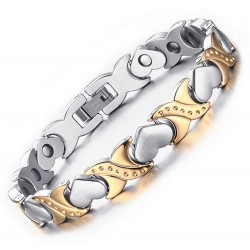 Stainless Steel Magnetic XOXO Heart Bracelet