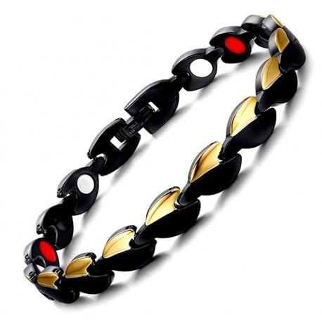 Stainless Steel Magnetic Heart Bracelet Black & Gold