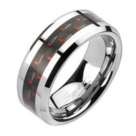 Tungsten Band Ring with Carbon Fiber Inlay