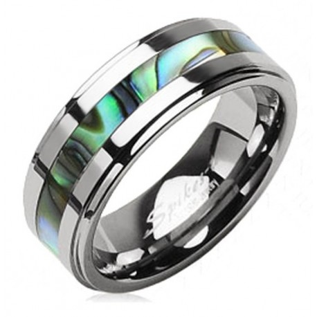 Tungsten Band Ring with Abalone Shell Inlay