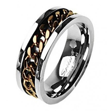 Titanium Ring with Chain Spinning Inlay Size 9