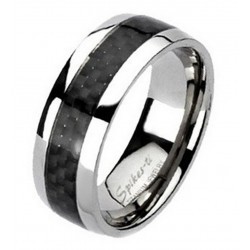 Titanium Ring with Carbon Fiber Inlay