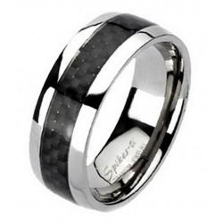 Titanium Ring with Carbon Fiber Inlay Size 9