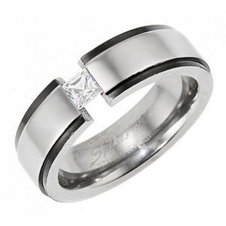 Titanium Ring with Black Trim and CZ Size 5