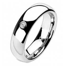 Solid Titanium Solitaire CZ Centered Dome Band Ring