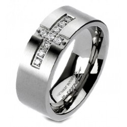 Solid Titanium Cross Paved CZ Band Ring