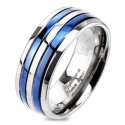 Solid Titanium Blue IP Double Striped Band Ring