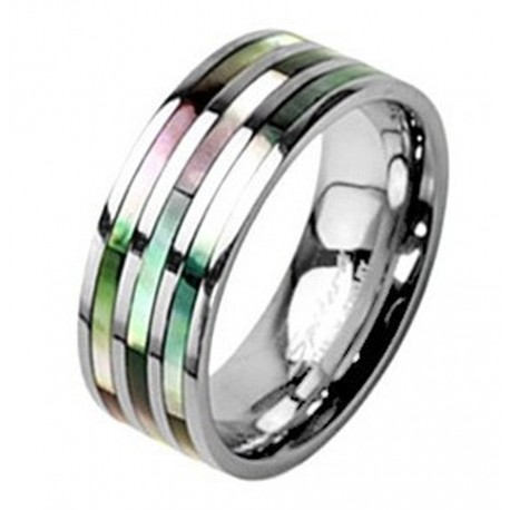 Titanium Ring with Abalone Shell Inlay Size 5