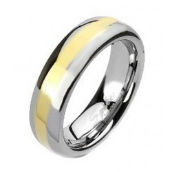 Tungsten Band Ring with Gold Center