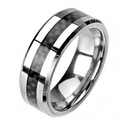 Tungsten Band Ring with Carbon Fiber Center
