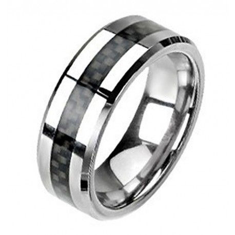 Tungsten Band Ring with Carbon Fiber Center Size 9