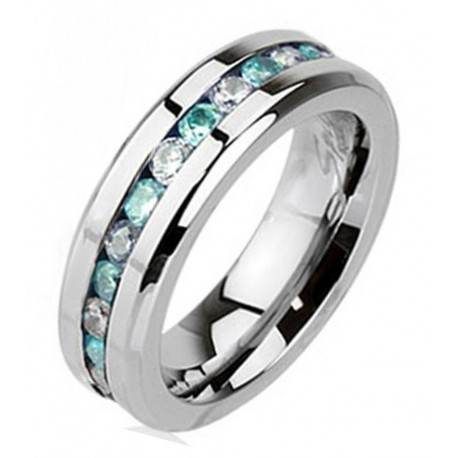 Stainless Steel Eternity Ring with CZ