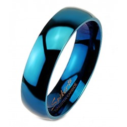 Blue Tungsten Carbide Band Ring