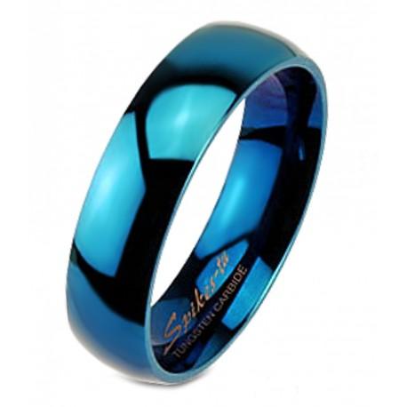 Blue Tungsten Carbide Band Ring