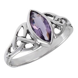 Sterling Silver Celtic Ring with Amethyst