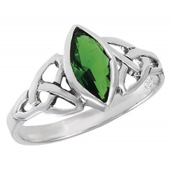 Sterling Silver Celtic Ring with Emerald