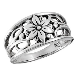 Sterling Silver Openwork Ring with Flower