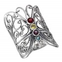 Sterling Silver Butterfly Ring With Colored CZ